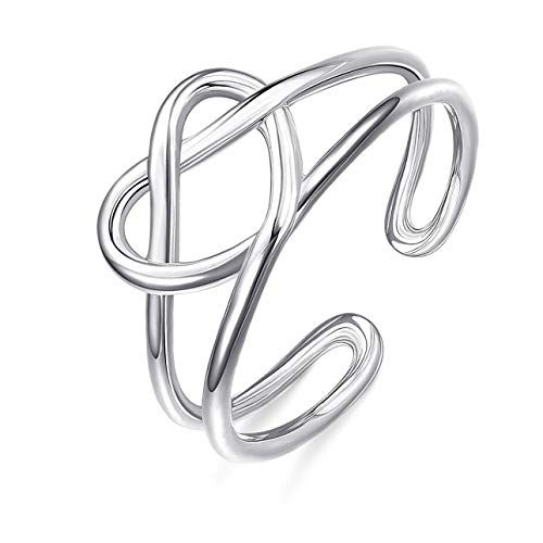 Sllaiss 925 Sterling Silver Celtic Knot Rings for Women Vintage Heart Love Knot Knuckle Rings Adjustable Open Toe Ring Stackable Ring Size 5-9