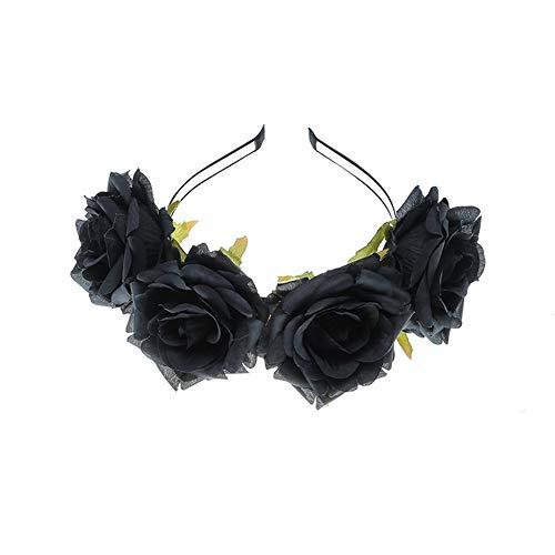 Yazilind Tuch Big Rose Blume Weihnachten Haarschmuck Fotostudio Retro Stirnband Zubehör Schwarz