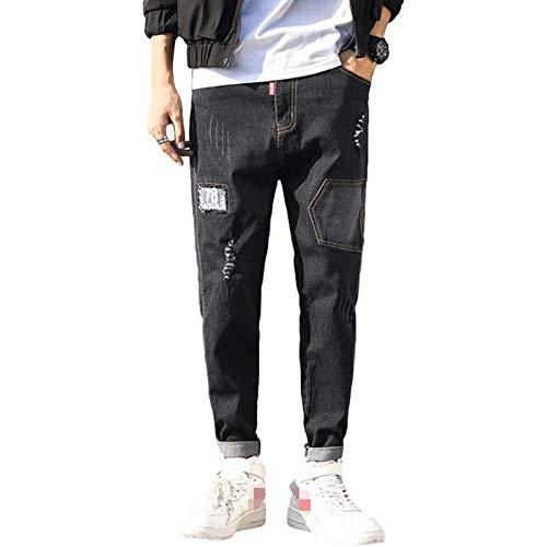 Pantalones Vaqueros de Ajuste Relajado con Cintura Flexible y cómoda para Hombre 7X-Large