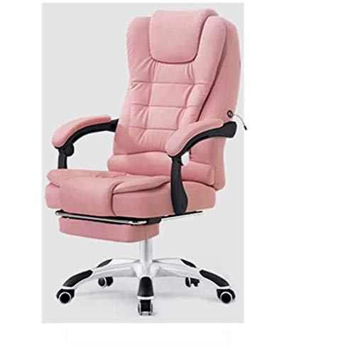 Massagestuhl liegende Bossstuhl heben Schwenkstuhl Fußstütze Ledersitz Computerstuhl Home Bürostuhl, Rosa MISU (Color : Pink)
