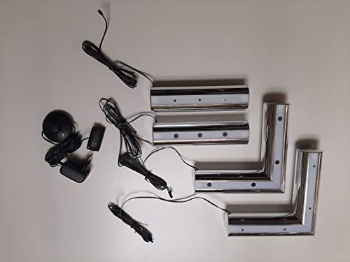 SAM LED-Füße für Boxspringbetten, chromfarben, weißes Licht, 21 x (21) x 5 cm, umrüsten
