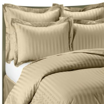 Buy Unique Bedding Mills 1400 Thread Count Beige California King Striped Luxury 8-Peices Bed-in-a-Ba...