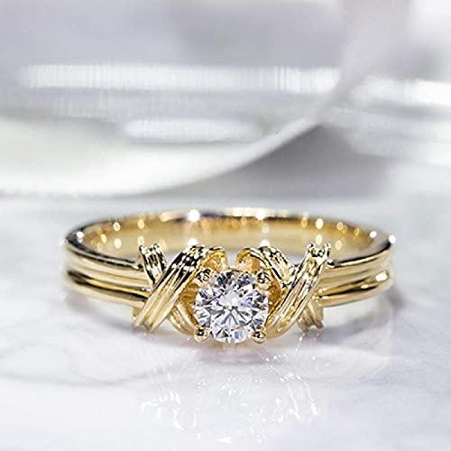 LINYIN 2PCS Vintage 14K Oro Color Anillo Anillo de Diamantes Individuales Entretejido patrón Punto Diamante Anillo joyería Femenina 10号 Golden