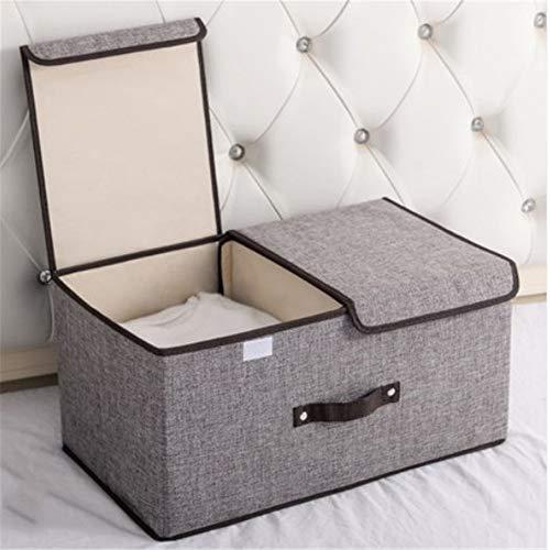 ETRZ Kleideraufbewahrungsbox Falttuchaufbewahrungsbox (graue Doppelabdeckung groß 50 * 30 * 25 cm)