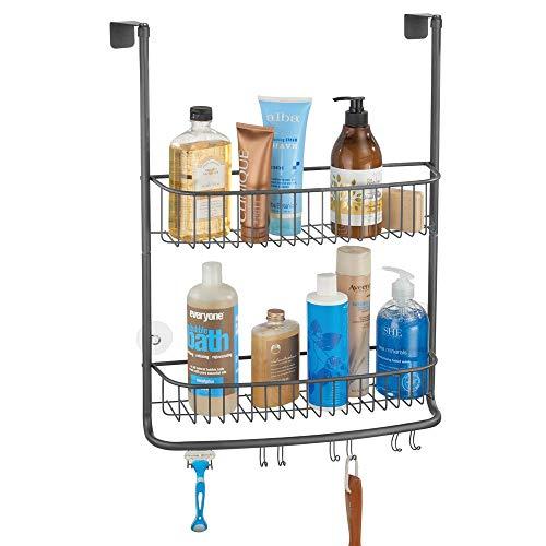mDesign douchehaak voor de douchecabine – elegante legplank voor badkamer zonder boren – badkamerrek van metaal met twee manden en vier dubbele haken voor alle soorten accessoires Grafiet