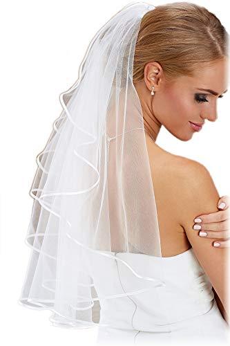 Velo de Novia Corto-Velo Boda-70cm-Hasta Cintura-Con Borde Satinado-Maravilloso NEUTRAL-Perfecto para los Vestidos de Novia-Nupcial Velo de Novia-BLANCO