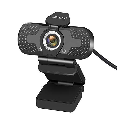 Eocean Cámara Web 1080P HD con Micrófono y Cubierta de privacidad, 30fps Cámara Web con Computadora de Transmisión con ángulo de visión amplio de 110 grados, Cámara Web USB 2.0 para PC para videoconferencia Grabación de conferencias