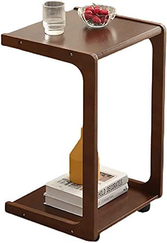 QIANMEI Mesa Auxiliar mesas Sofá de Mesa Lateral | Mesas Finales con Ruedas | para Espacios pequeños, Trabajo, Lectura, Escritura, Dibujo, Juegos