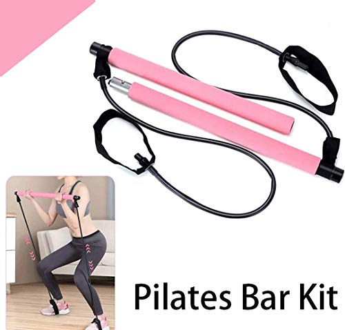 Pilates Bar Kit with Resistance Band, Portable Home Gym Workout Package,Resistance Band and Toning Bar Yoga Pilates Stick Yoga Exercise Bar with Foot Loop for Total Body Workout (A-Pink)