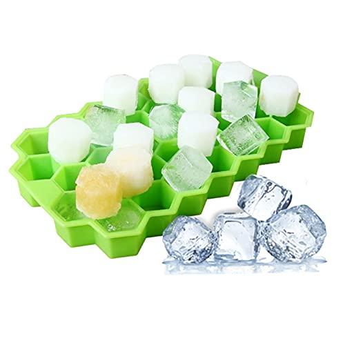 WJY Bandejas para Hielo Silicona con Tapas, Cubo de Hielo con Forma de Panal 37 Cubos Bandeja del Cubo de Hielo Inicio Cocina Bandeja de Cubitos de Hielo Verano Silicone Ice Cube Bandeja de moldes