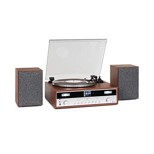 Auna Birmingham - Impianto Stereo HiFi, Internet/Sintonizzatore Radio Dab+/FM, Bluetooth, Giradischi, Trasmissione a Cinghia 33 e 45 Giri/min, Lettore CD, Porta USB, AUX, 2 Altoparlanti da 50 W Max