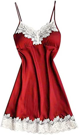 Diomor Womens Sexy Lingerie Satin Lace Camisole Sleepwear Strappy Night Dress with Chest Pads product image