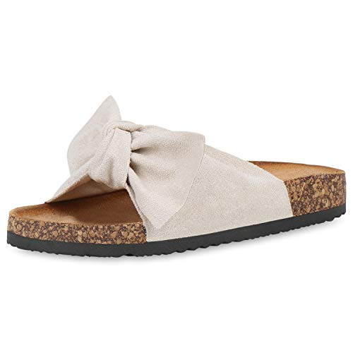 SCARPE VITA Damen Sandalen Pantoletten Korkoptik Sommerschuhe Schlappen Schleifen Schuhe Flats Sommer Hausschuhe Latschen 190571 Creme Total 39