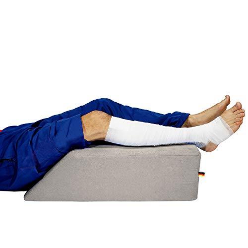 Sanolind Almohada Ortopédica de la Elevación de Las Piernas, Cojín para Las Venas/Tamaño 70 x 50 x 20 cm Almohada de Cuña (Gris)