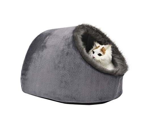 VERTAST Cat Small Dog Cosy Bed Pets Igloo Bed Hideout Cave, Cushion Washable, grey