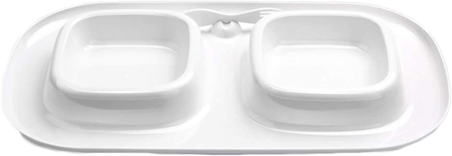 Double Bowl Curled Leakproof Cat Bowl High End Cat Tableware (Size   M)