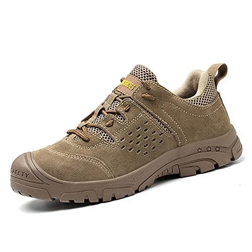 Calzado de Seguridad S3 Ligero para Hombre y Mujer Zapatos de Trabajo con Puntera de Acero Calzado Profesional Industrial Artesanal, Antideslizante 35-45,Marrón,43EU