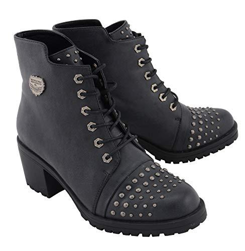 Milwaukee Performance MBL9426 Women's Distress Black Rocker Boots with Studded Instep - 8
