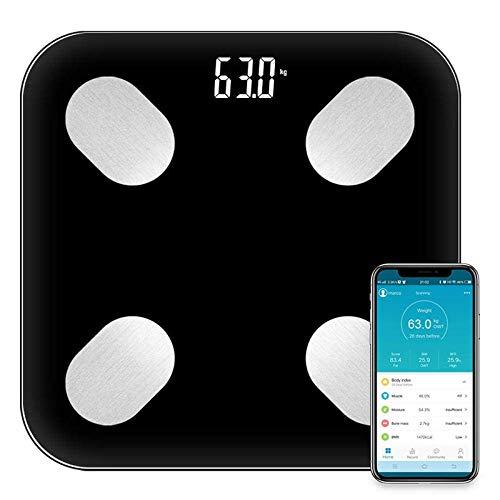 Material de primera, imprescindible para el hogar Escala de pesaje Escala de pesaje digital, Bluetooth Bathroom Peso electrónico Smart Digital Scale, 180kg / 400lb negro