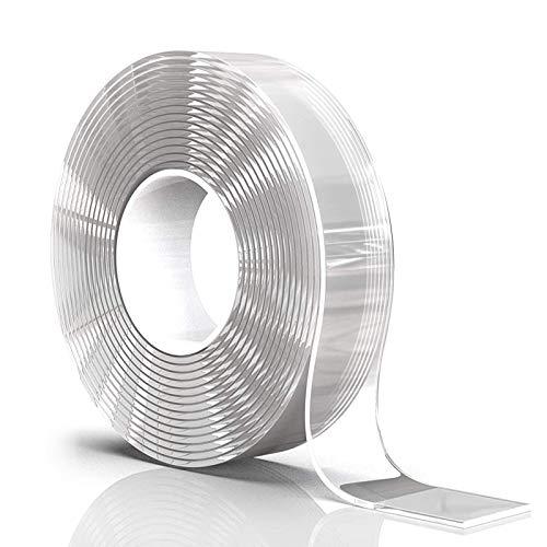 Oladwolf Doppelseitiges Klebeband Extra Stark, Spurloses Waschbares Klebeband Transparent Nano Tape, Temperaturbeständiges Montageband Spiegelklebeband Doppelseitig Montageklebeband