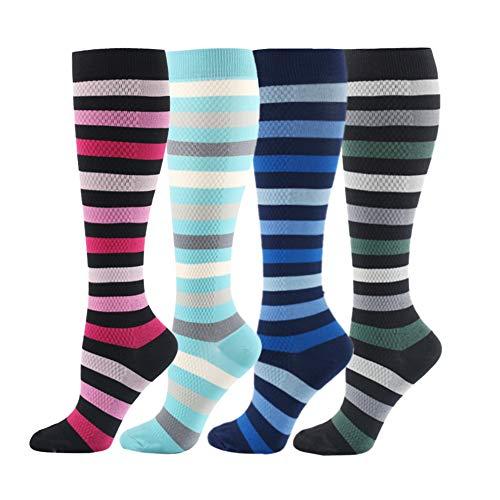 HLTPRO Compression Socks for Women & Men - 4 Pairs 20-30 mmHg Stockings for Nurse Athletic, Pregnant