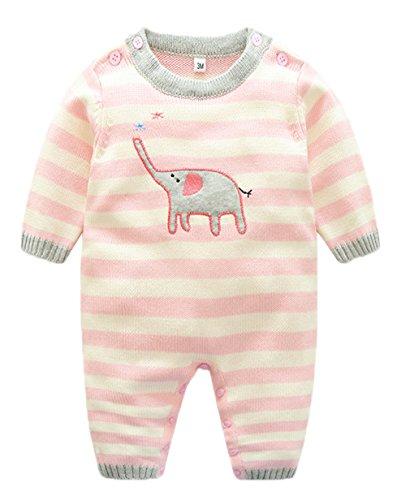 Y-BOA Combinaison Bébé Fille Garçon Naissance Grenouillère Pull Tricoté Ensemble Pyjama Rose Size2