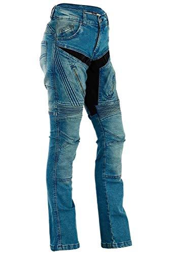 BULLDT Damen Motorradjeans Motorradhose Denim Jeans Hose mit Protektoren, Farbe:Blau, Jeansgröße:W28 / L31