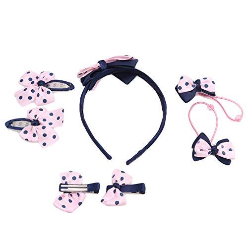 PXSTYLE Accessoires de cheveux pour enfants 7Pcs Cute Girl All-Match Hair Clip Birthday Gifts Set,Taches bleu marine sur la fondation