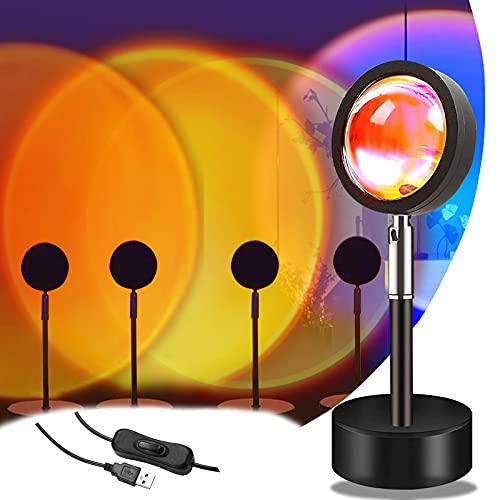 Sunset Projection Lamp - Lámpara de proyección de 4 colores con puesta de sol, giratoria 180°, romántica y visual, para dormitorio o salón