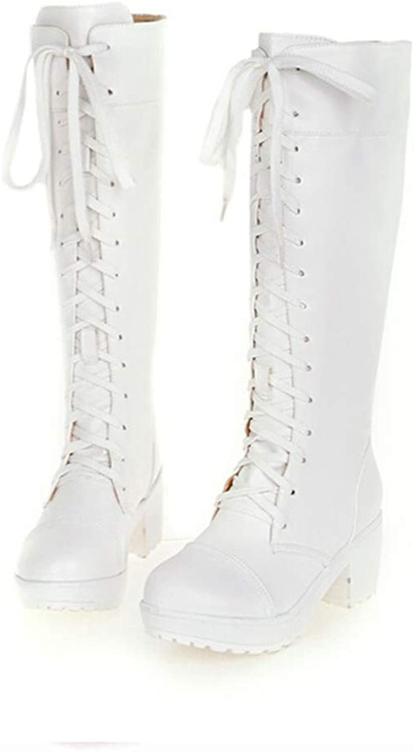 T-JULY Women Winter Warm Lace-up Thick Mid Heel Martin Boots Ladies Mid-Calf Round Toe Cosplay Big Size Slim Long Boots