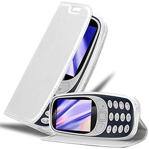 Cadorabo Hülle für Nokia 3310 in Classy Silber - Handyhülle mit Magnetverschluss, Standfunktion & Kartenfach - Hülle Cover Schutzhülle Etui Tasche Book Klapp Style