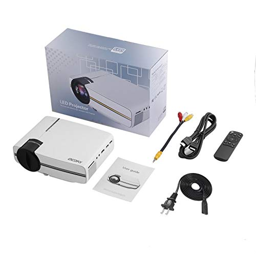 OCDAY Tragbare Leichtbau HDMI Adjustable Kostengünstige Multi-Media-Heimkino LCD-Imaging HD LED Digitalprojektor (weiß)