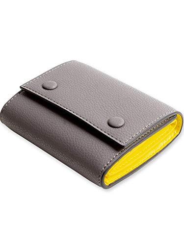 MALTA レザー 財布 三つ折り財布 牛革 ミニ財布 ボックス型 小銭入れ カード入れ 大容量 ツートンカラー 3つ折り コンパクト メンズ レディース 全5色 (greyyellow2)