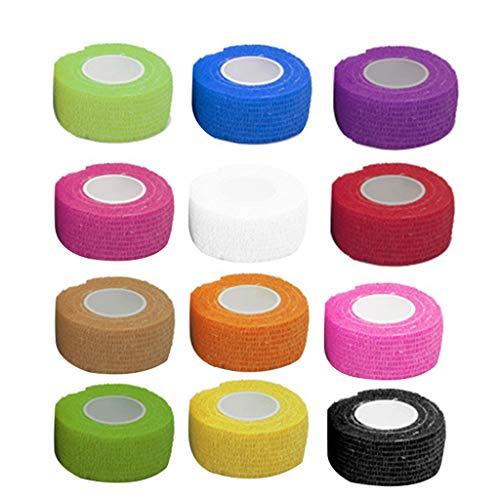 Yiwann 12 piezas cinta de kinesiología elástica venda cinta para ejercicio, vendaje adhesivo Wrap elástico autoadherente cinta para deportes, muñeca, tobillo A