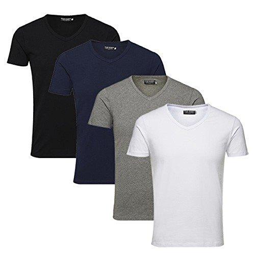 JACK and JONES Mens Basic V-neck Tee S/s Noos Year-Round Plain V-Neck Short Sleeve T-Shirt - - M 4er Pack V-Neck MIX Medium