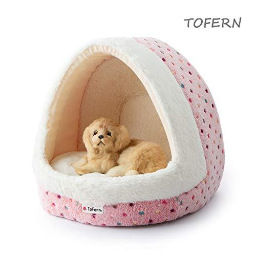 Tofern Hundebett Hundehöhle Katzenbett weich warm waschbar für kleine mittelgroße Hunde Katzen, rosa