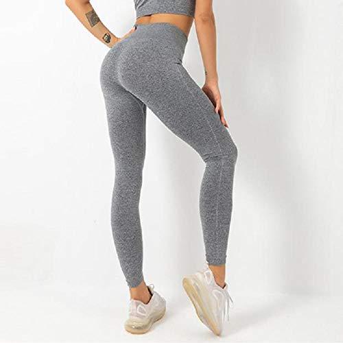 B/H Camiseta sin Mangas de Punto Jersey Suave de Mujer,Leggings de Punto sin Costuras para Mujer, Pantalones de Yoga de Cintura Alta-Gris_M,Mujer de Espalda Abierta Yoga Camiseta