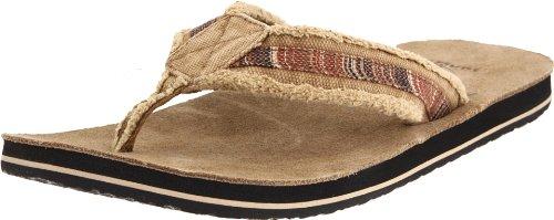 Sanuk Men's Fraid So Flip Flop,Red/Brown,6 M US
