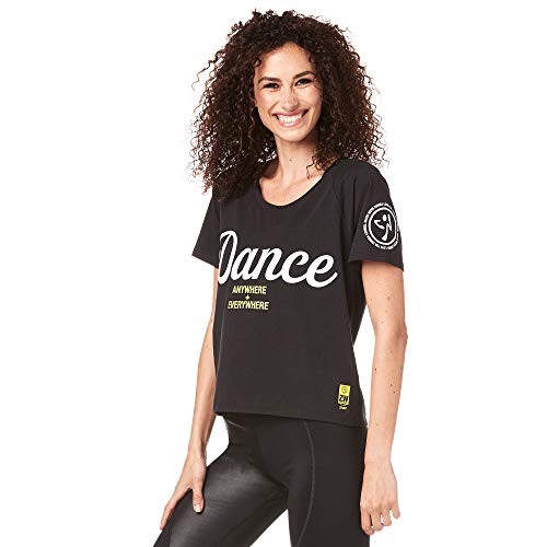 Zumba Lightweight Graphic Design Sexy Tops Cropped Gym Workout Shirts for Women,M,(Schwarz)
