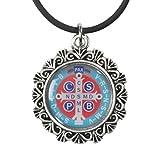 CB Medalla de San St Benedict 11/8Inch epoxi Icono Colgante con 18Pulgadas Collar de cordón de Caucho Negro
