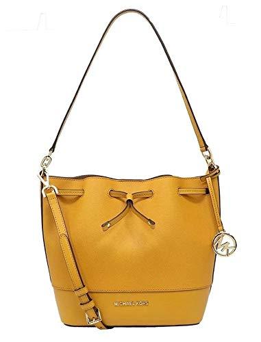 Michael Kors Trista Medium Drawstring Saffiano and Smooth Leather Bucket Shoulder Crossbody Bag (Jasmine Yellow)