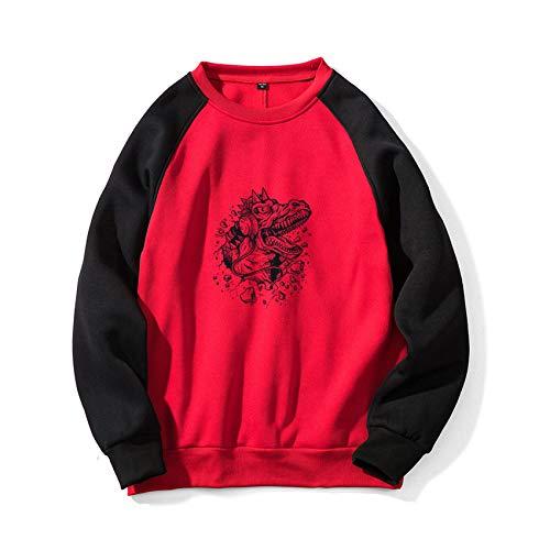 Herbst Und Winter Herren Rundhals Casual Loose Hedging Bedruckter Raglan Color Block Sweater