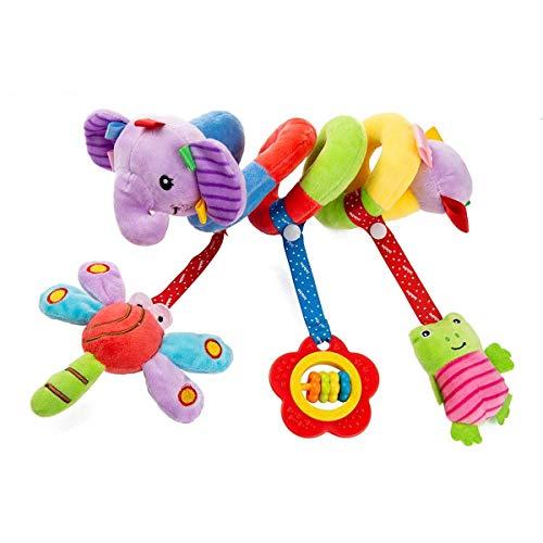 Cochecito de Bebé Juguetes de Cuna, Cuna en Espiral Cochecitos de Bebé Juguetes, Juguetes de Cochecitos de Bebé en Espiral, Juguetes de Peluche Colgantes de Actividad, para Niños y Niñas(Elefante)
