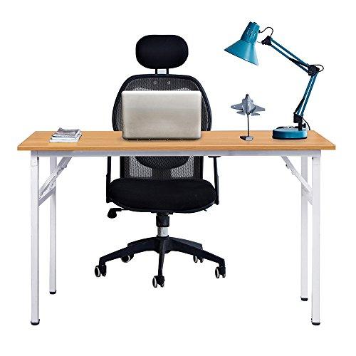Need Mesa Plegable 120x60cm Mesa de Ordenador Escritorio de Oficina Mesa de Estudio Puesto de Trabajo Mesas de Recepción Mesa de Formación, Teca Color & Blanco Pat