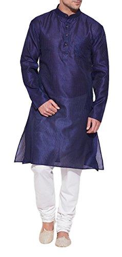 ShalinIndia Esmeralda Azul Kurta de Seda para Hombre–Hombre Indio Fashions–poliéster Dupion - Azul -