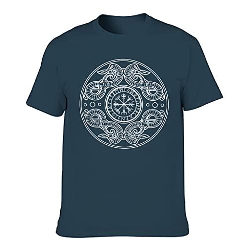 T-HGeschäft Camiseta deportiva para hombre, diseño vikingo Vegvisir con dragones estampados, ropa deportiva abstracta, ropa deportiva, azul marino, XXXXL