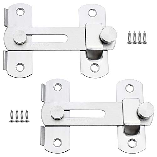 KingYH Paquete de 2 pernos de cierre de puerta de acero inoxidable con cierre deslizante resistente para valla de jardín, granero, puerta, ventana, accesorios de hardware