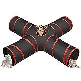 Cozy Vibe - Tunnel Gatto,Pieghevole 4 Vie Cat Tunnel,per Gatto,Cani,Conigli,Animali Domestici,Tunnel Gatto Adatto per Uso Interno ed Esterno (Rosso)
