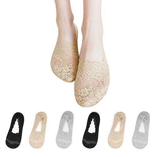 TAGVO 6 Paar Damen Füßlinge Spitze Unsichtbare Ballerina Socken mit rutschfest Silikon Schwarzes nacktes Grau