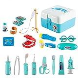 Twister.CK Kit Medici per Bambini, Bambini Finta Ruolo Gioca Medico Set Medici Giocattoli con 20 Pezzi Custodia per Bambini Piccoli, Blu